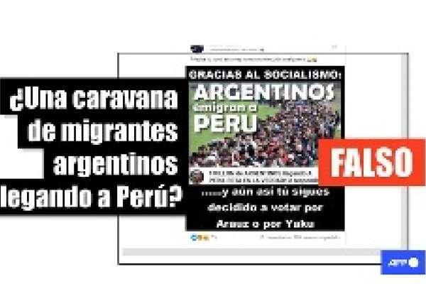 La foto de una caravana de migrantes no muestra a argentinos llegando a Perú, fue tomada en Eslovenia