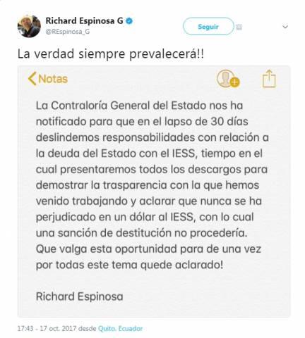 Richard Espinosa se refiere a notificación de Contraloría