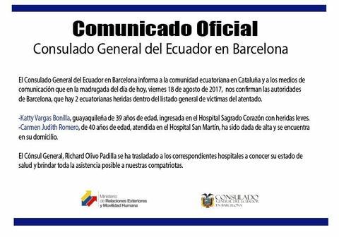 Reportan dos ecuatorianas heridas en atentado en Barcelona