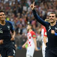 Griezmann celebra el segundo tanto francés. Foto: FRANCK FIFE / AFP