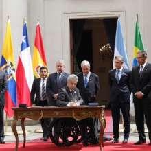 CHILE.- El presidente Lenín Moreno y sus homólogos sudamericanos firmaron la declaración conjunta. Foto: Twitter