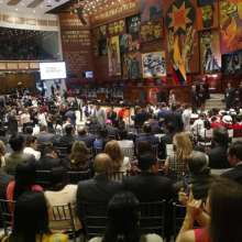 QUITO, Ecuador.- El presidente Lenín Moreno rinde ante la Asamblea su segundo informe a la Nación. Foto: API