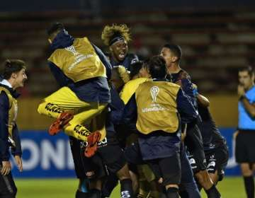 El entrenador de Independiente del Valle destacó la garra de los jugadores. Foto: RODRIGO BUENDIA / AFP
