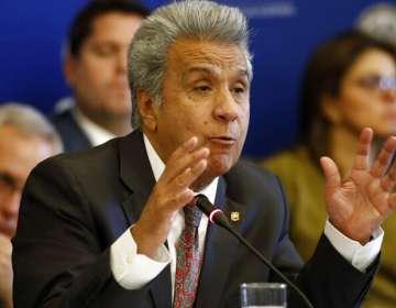 El presidente de Ecuador, Lenín Moreno, se dirige al Consejo Permanente de la Organización de Estados Americanos. Foto: AP