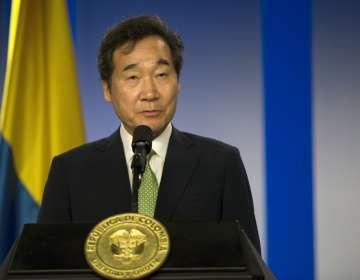 El primer ministro del país asiático Lee Nak-yeon visitó Colombia el lunes 6 de mayo. Foto: AFP
