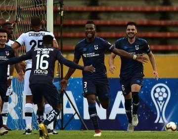 Festejo de uno de los goles de la Chatolei. Foto: Twitter Sudamericana.