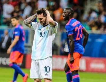 Messi en el partido ante Colombia.