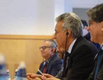 Moreno también trató el cambio climático, políticas sobre discapacidad y visa Schengen. Foto: Presidencia