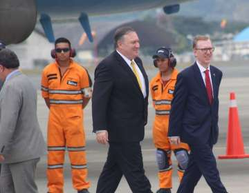 Pompeo dialogó con el presidente Lenín Moreno en una visita a Ecuador, el sábado 21 de julio.Foto: Presidencia