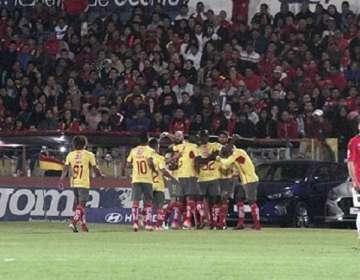Aucas festeja uno de sus goles en Serie A. Foto: Twitter Aucas.