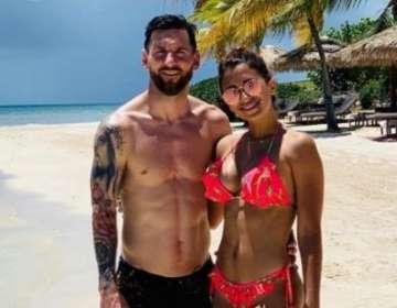 Leo Messi junto a su esposa, Antonela Roccuzzo.
