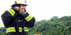 Además de ser bombera, Paola Cevallos es madre de familia. Foto: Cortesía.