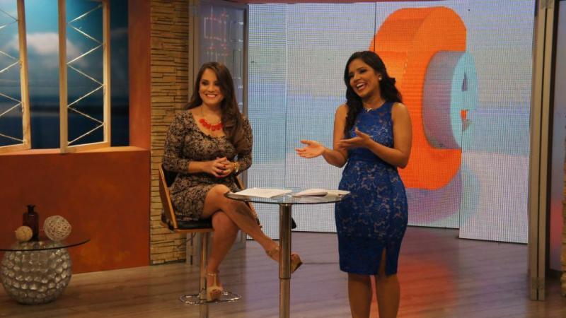 """Durante el segmento """"Informadas"""" Evelyn Calderón y Verónica Camacho. Foto: Ecuavisa"""