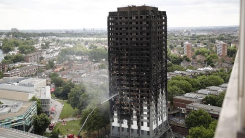 Grenfell Tower, la torre residencial en el oeste de Londres que fue consumida en un gran incendio el 15 de junio de 2017.  Al menos 79 personas murieron o están desaparecidas.