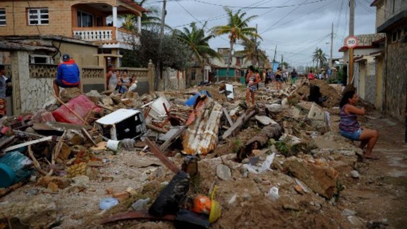 Vista de daños después del paso del huracán Irma, en el barrio de Cojimar, en La Habana, el 10 de septiembre de 2017
