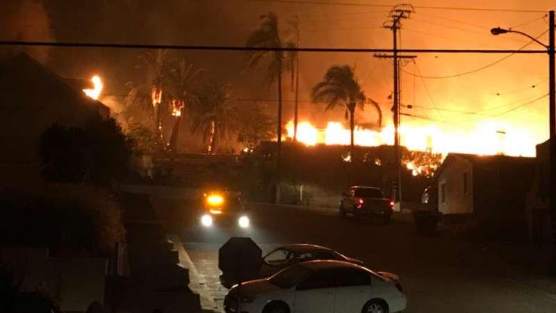 1,000 hogares en Ventura County, California, recibieron la orden de evacuar. Foto: AP.