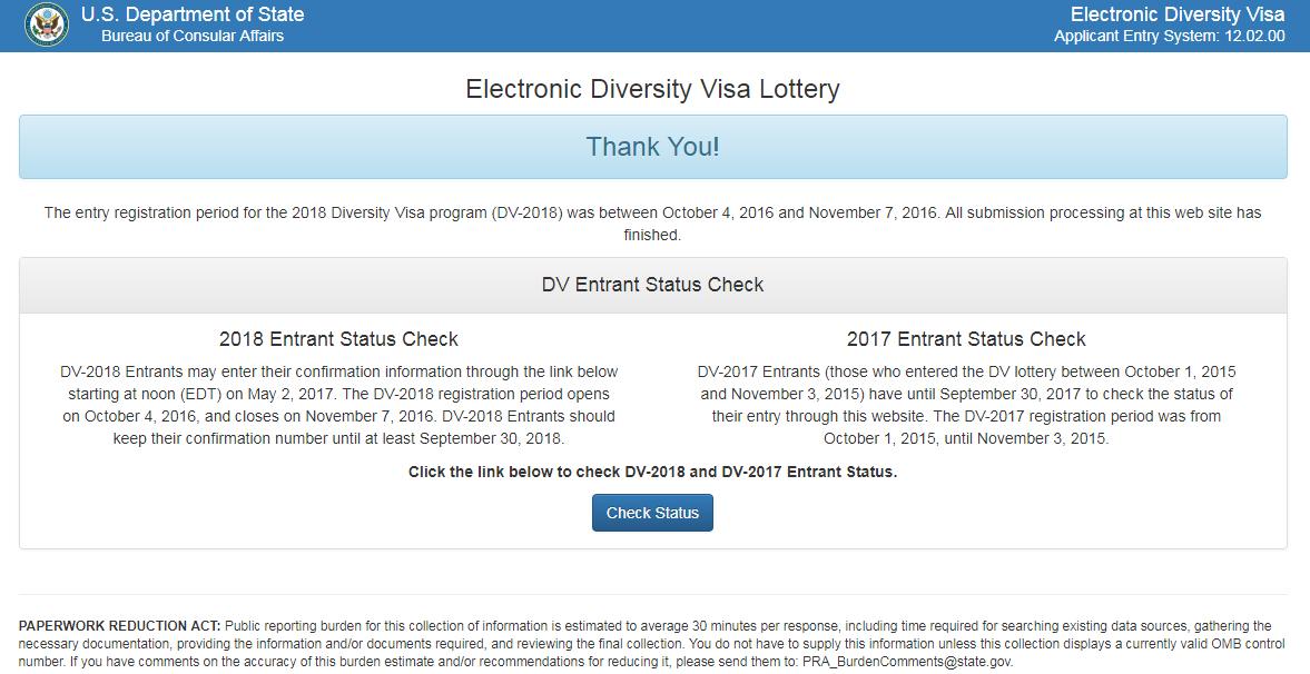 Ecuador califica nuevamente para programa de Lotería de visas